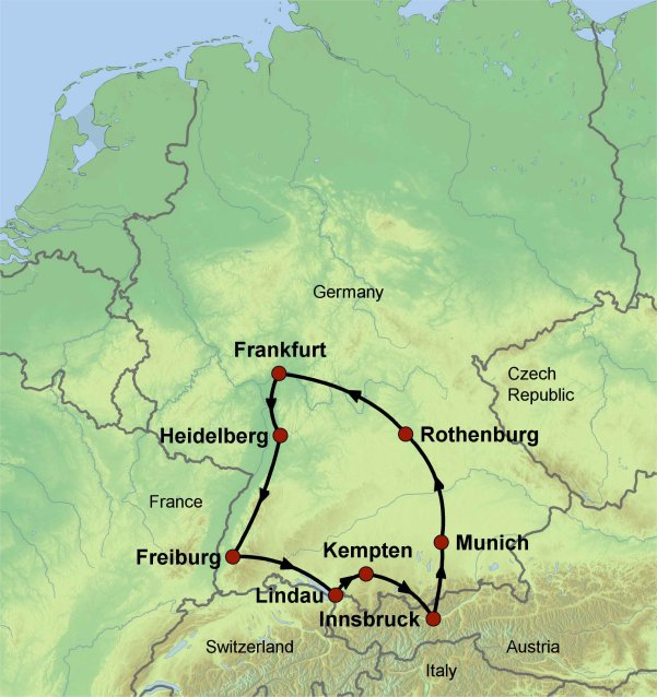 germany driving tour map